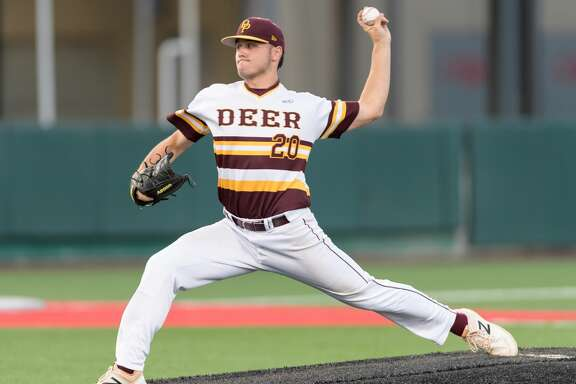 Peyton Sherlin (20) of the Deer Park Deer pitching in the third inning against the Ridge Point Panthers in game 1 of the High School Playoffs on Thursday, May 25, 2017 at Darryl & Lori Schroeder Park at the University of Houston in Houston Texas.