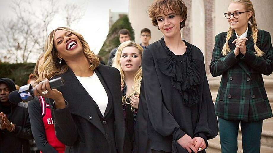 """Laverne Cox (left), Abigail Breslin, Alex Lawther and AnnaSophia Robb in """"Freak Show,"""" which is the directorial debut of Trudie Styler, who also co-produced the film. Photo: Frameline"""