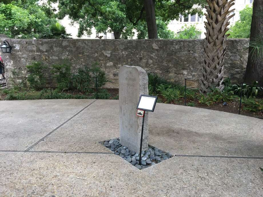 The Japanese Monument, placed in the Alamo's Convento Courtyard, dates to 1914 and compares the 1836 battle with a similar conflict in Japan in 1575. Photo: Scott Huddleston /San Antonio Express-News