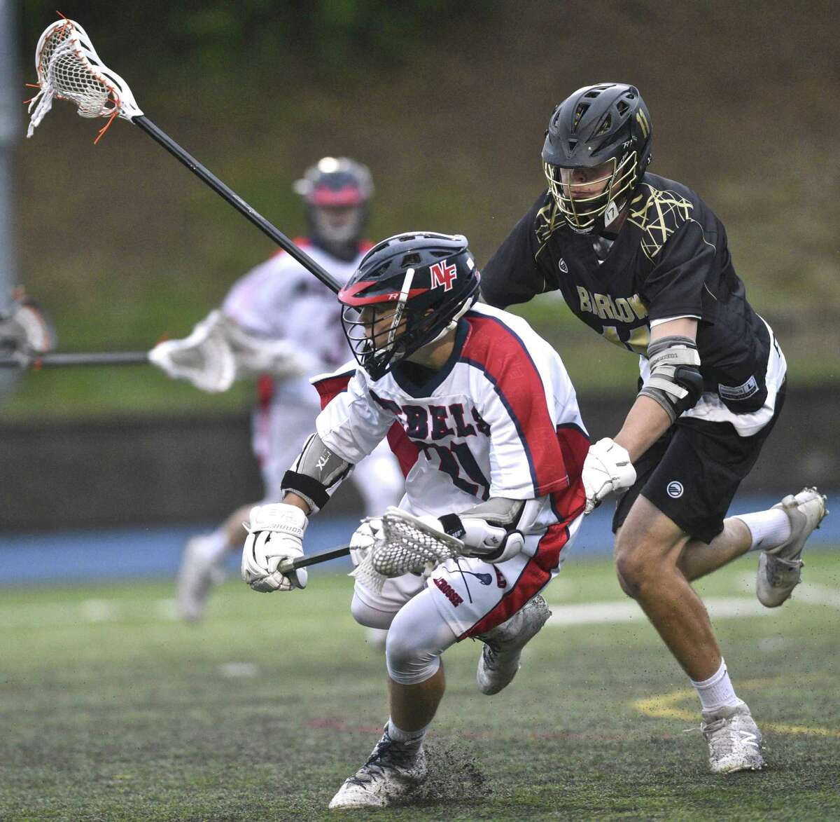 SWC boys lacrosse championship game between Joel Barlow and New Fairfield high schools, on Thursday night, May 25, 2017, at Newtown High School, Newtown, Conn.