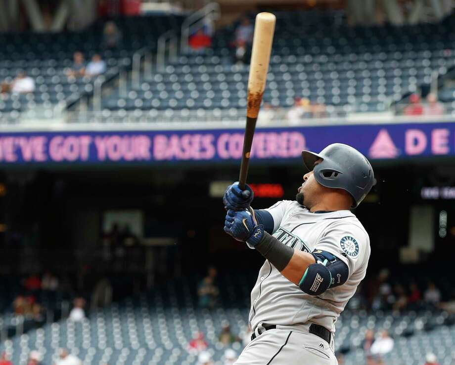 Seattle Mariners' Nelson Cruz (23) hits a three-run home run during the sixth inning of a baseball game against the Washington Nationals in Washington, Thursday, May 25, 2017. The Mariners won 4-2. (AP Photo/Manuel Balce Ceneta) ORG XMIT: NAT105 Photo: Manuel Balce Ceneta / Copyright 2017 The Associated Press. All rights reserved.