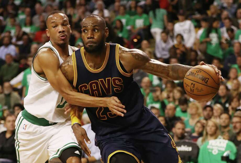 BOSTON, MA - MAY 25:  LeBron James #23 of the Cleveland Cavaliers dribbles against Avery Bradley #0 of the Boston Celtics in the second half during Game Five of the 2017 NBA Eastern Conference Finals at TD Garden on May 25, 2017 in Boston, Massachusetts. NOTE TO USER: User expressly acknowledges and agrees that, by downloading and or using this photograph, User is consenting to the terms and conditions of the Getty Images License Agreement.  (Photo by Elsa/Getty Images) ORG XMIT: 700050321 Photo: Elsa / 2017 Getty Images