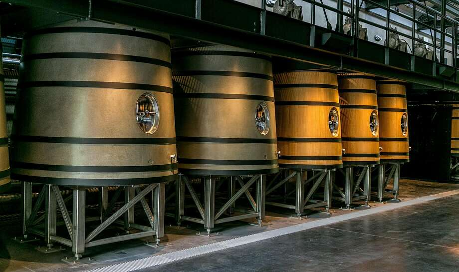 Concrete and oak fermentation tanks at Promontory Estate. Photo: John Storey, Special To The Chronicle