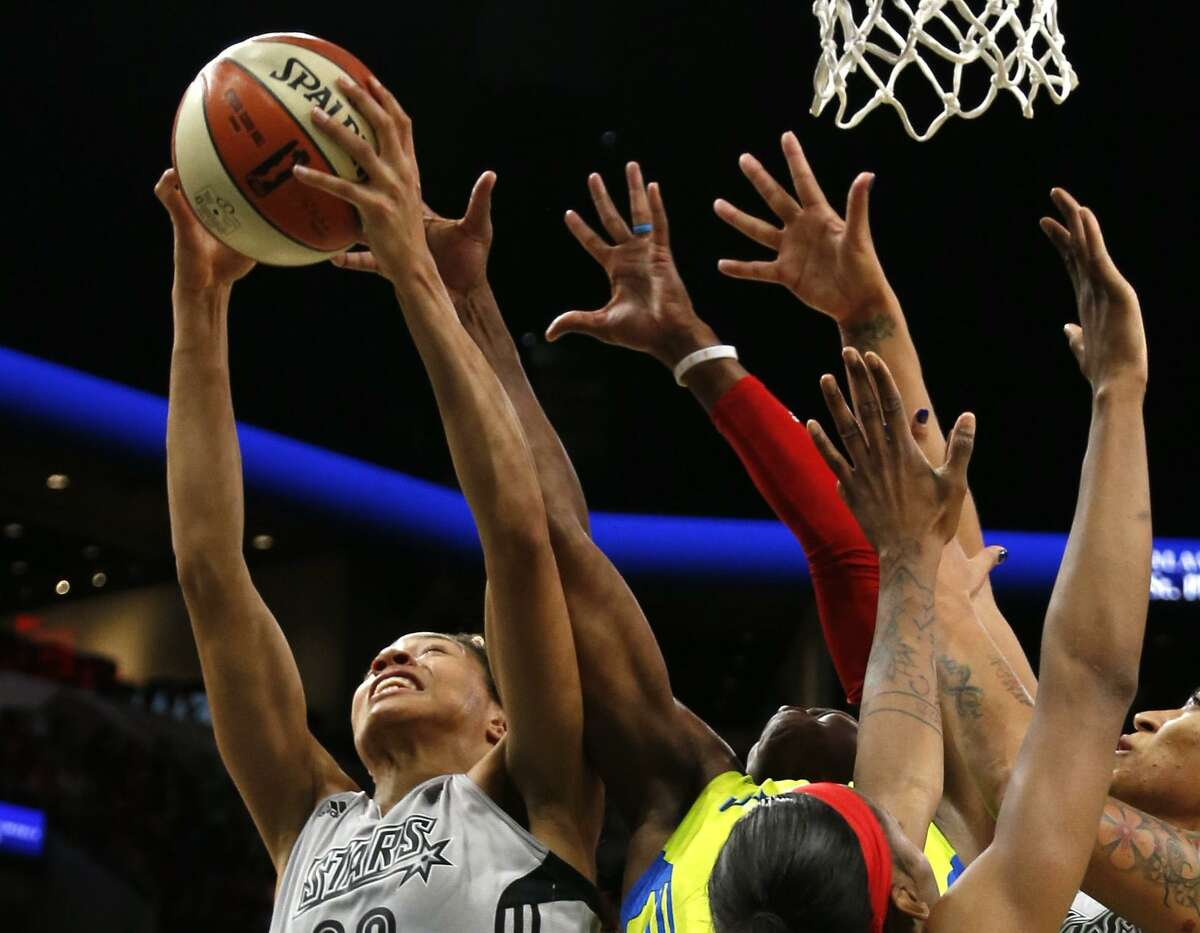 Stars?• Isabelle Harrison tries to score over a sea of hands from the Stars' home WNBA game vs. Dallas on Thursday, May 25, 2017.