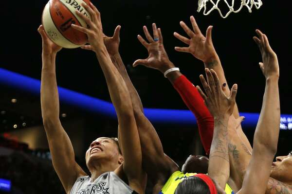 StarsÕ Isabelle Harrison tries to score over a sea of hands from the Stars' home WNBA game vs. Dallas on Thursday, May 25, 2017.