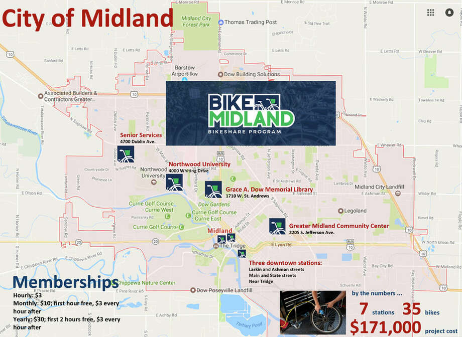 Momentum Midland plans to launch 'Bike Midland,' a three-year pilot bike share program, on June 16. This map shows the seven bike station locations in the city. Chris Aldridge | caldridge@mdn.net