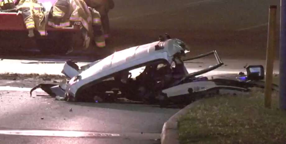 A driver is dead after losing control of his car early Friday near the Medical Center and slamming into a brick pole. (Metro Video) Photo: Metro Video