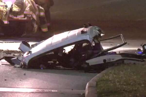 A driver is dead after losing control of his car early Friday near the Medical Center and slamming into a brick pole. (Metro Video)