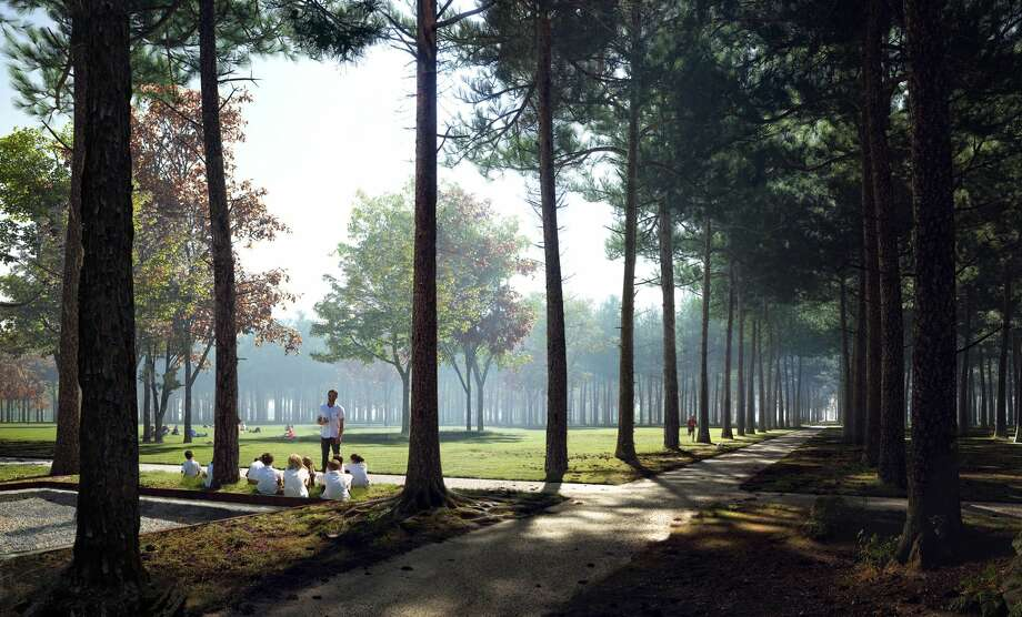 """Memorial Groves would feature """"regiments"""" of loblolly pines trees planted to evoke the formations of the soldiers who trained at Camp Logan. You can also see in this rendering the way NBWLA would treat the archaeological ruins of the showers and latrines still on the site. Photo: Nelson Byrd Woltz Landscape Architects"""