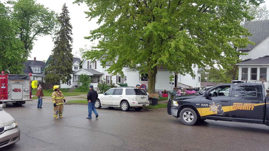 Emergency responders are pictured at the scene Friday. Photo: Seth Stapleton/Huron Daily Tribune