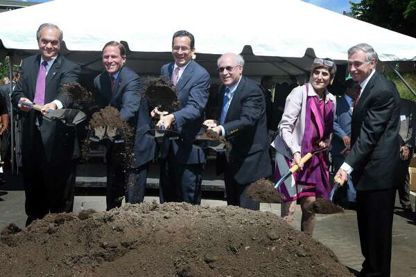 Officials at Alexion Pharmaceuticals' headquarters groundbreaking ceremony in June 2013 in New Haven, with the company having received incentives under Gov. Dannel P. Malloy's First Five program. Pictured left to right are former New Haven Mayor John DeStefano; U.S. Sen. Richard Blumenthal; Malloy; former Alexion CEO Leonard Bell; U.S. Rep. Rosa DeLauro; and Bruce Alexander, Yale University vice president.