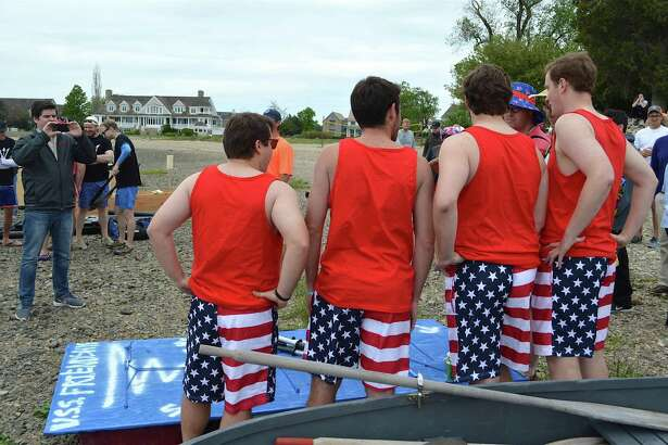 """Members of the U.S.S. Friendship, including, from left, Chester Murray of New Canaan, Steve Carey of Darien, Matt Sachs of New Canaan, and Red Sheresky of Greenwich, at the """"For Michael Taylor"""" fundraiser event at Weed Beach, on behalf of the nonprofit Shatterproof, Saturday, May 20, 2017, in Darien, Conn."""