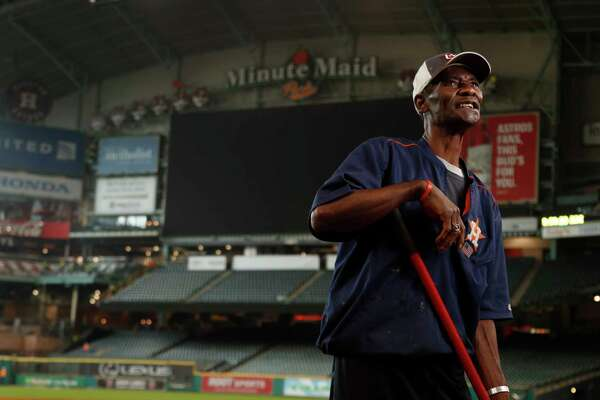 Astros groundskeeper Willie Berry takes a brief break to look back on 46 years of service at Minute Maid Park and before that the Astrodome.