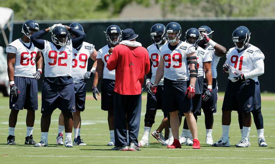 The Houston Texans defensive line including Houston Texans defensive end J.J. Watt (99) and defensive end Brandon Dunn (92) during the Houston Texans OTAs at the Methodist Training Center in Houston, TX on Tuesday, May 23, 2017. Photo: Tim Warner, Freelance / Houston Chronicle