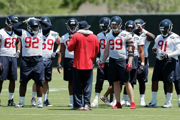 The Houston Texans defensive line including Houston Texans defensive end J.J. Watt (99) and defensive end Brandon Dunn (92) during the Houston Texans OTAs at the Methodist Training Center in Houston, TX on Tuesday, May 23, 2017.