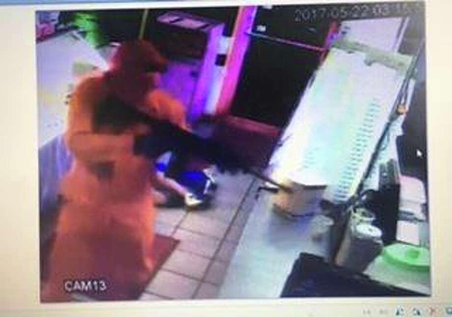 Surveillance camera photo taken from an aggravated robbery at La Salsita, 612 Washington Blvd., on May 22, 2017.