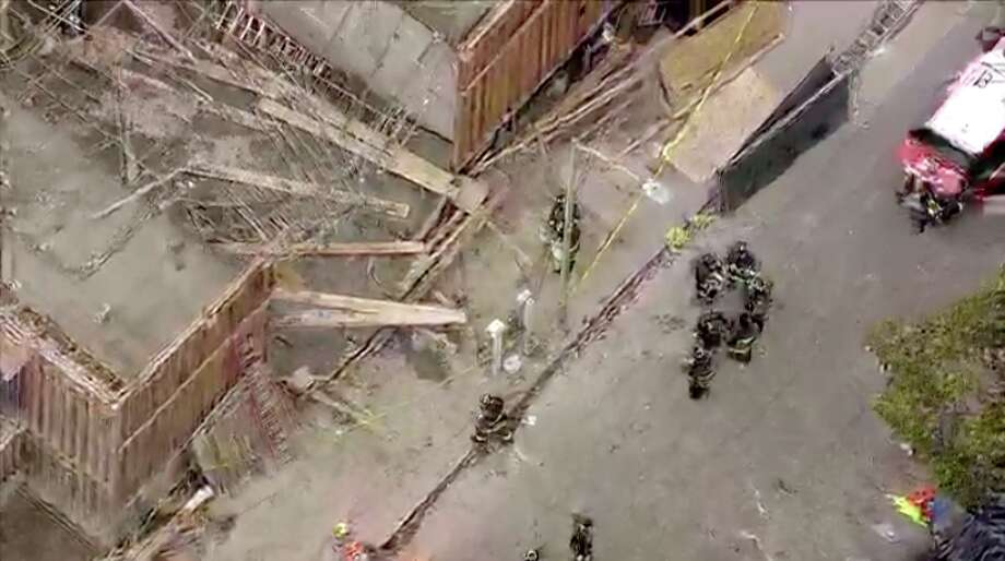 A building collapsed on the 300 block of Hawthorne Street near Broadway. Photo: Video Still Via KTVU