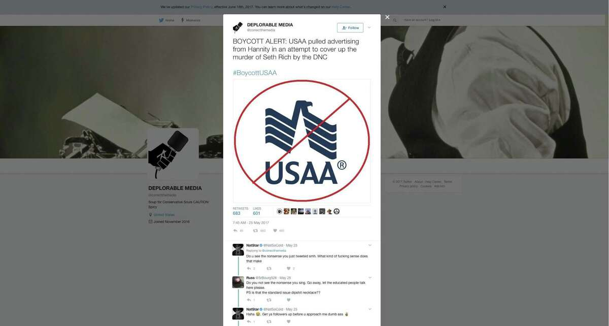 A tweet targets S.A.-based USAA for canceling advertising on the conservative Sean Hannity Fox News show. The company is getting blowback from conservatives on social media over its decision to yank advertising from the show this week. Hundreds of people have taken to social media to express their displeasure with the decision and some are calling for a boycott.