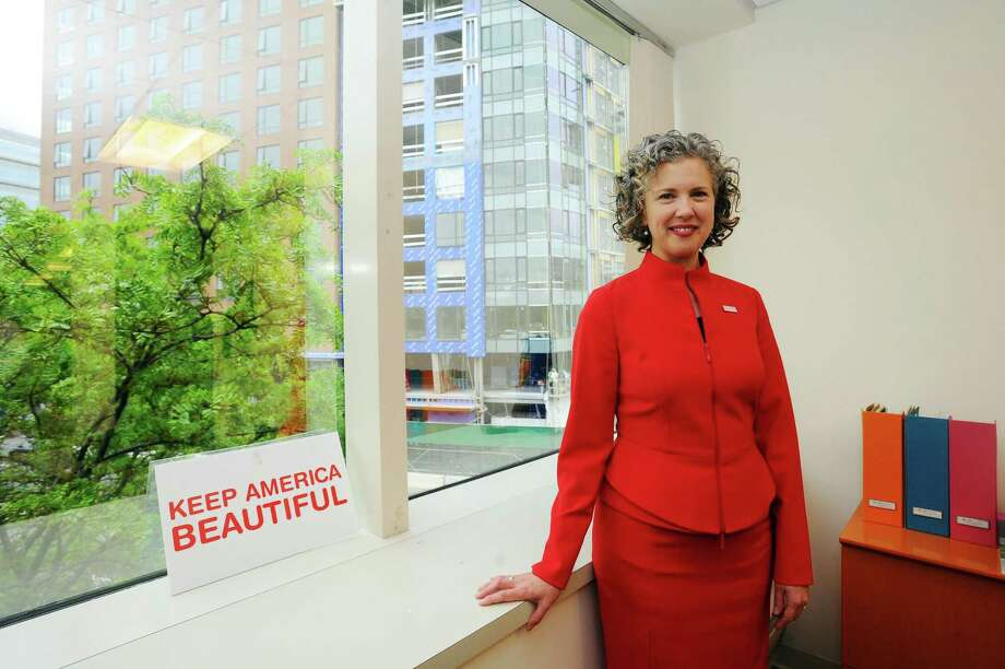 Helen Lowman, the new CEO of Stamford-based nonprofit Keep America Beautiful, poses for a photo inside the Keep America Beautiful offices on Washington Blvd. in downtown Stamford, Conn. on Wednesday, May 24, 2017. Photo: Michael Cummo / Hearst Connecticut Media / Stamford Advocate