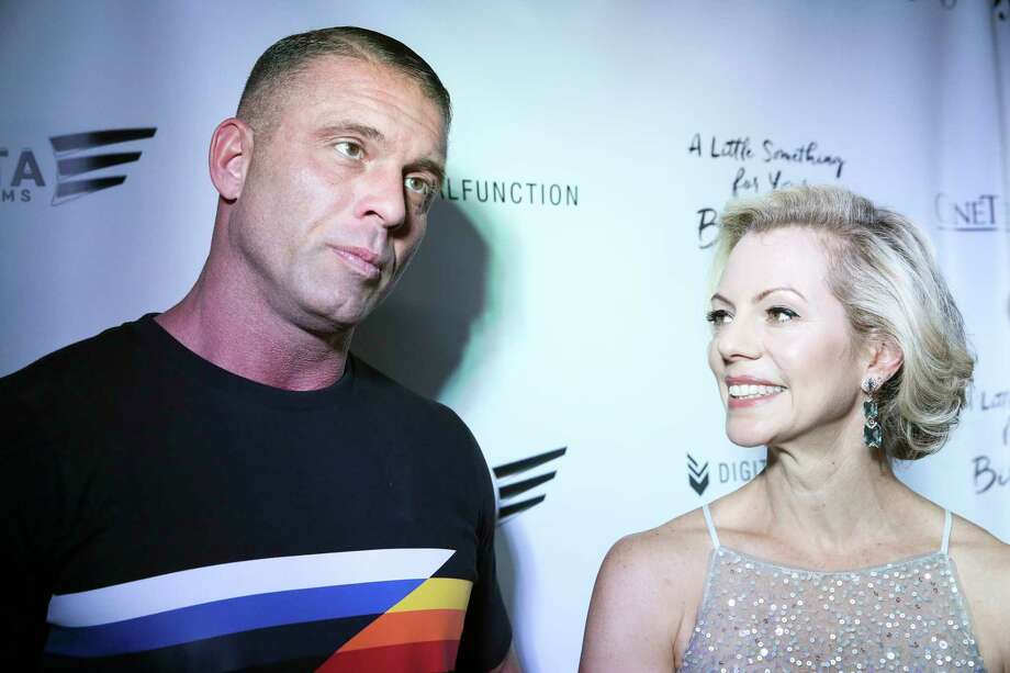 """Houston native Jason Gibson and screenwriter Susan Walter are being interviewed on the red carpet for the Houston premiere of their movie """"A Little Something For Your Birthday"""" at Sundance Cinemas Thursday, May 25, 2017, in Houston. Photo: Yi-Chin Lee, Houston Chronicle / © 2017  Houston Chronicle"""
