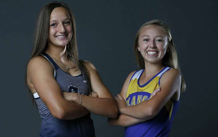 Smithson Valley senior Colleen Clancy, the 2017 Express-News All-Area Girls Field Athlete of the Year (left) and Blanco sophomore Johanna Villarreal, Girls All-Area Track Athlete of the Year, pose on May 21, 2017.