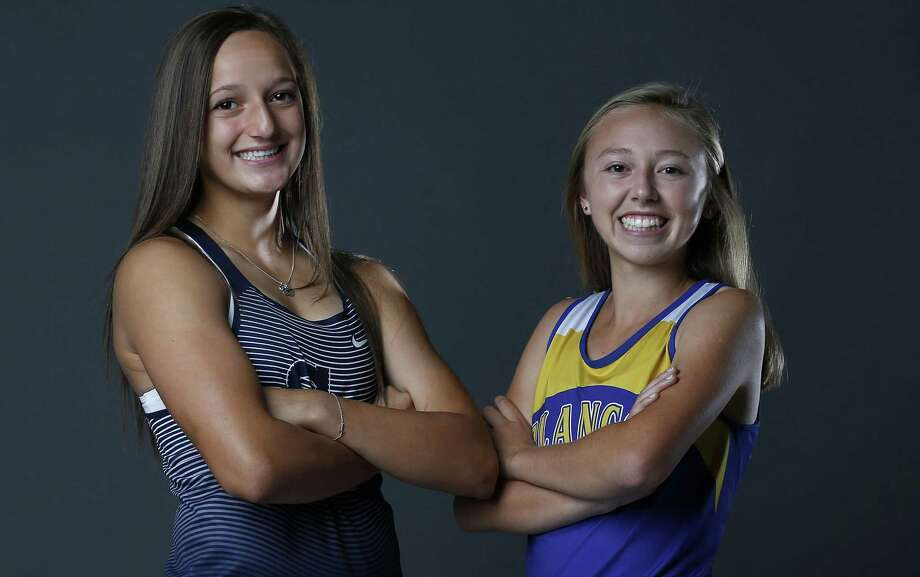 Smithson Valley senior Colleen Clancy, the 2017 Express-News All-Area Girls Field Athlete of the Year (left) and Blanco sophomore Johanna Villarreal, Girls All-Area Track Athlete of the Year, pose on May 21, 2017. Photo: Edward A. Ornelas /San Antonio Express-News / © 2017 San Antonio Express-News