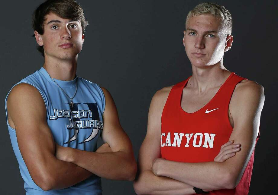 Portrait of Johnson junior Jack Scarborough, 2017 Express-News All-Area Boys Field Athlete of the Year (left) and New Braunfels Canyon senior Sam Worley, Track Athlete of the Year on May 21, 2017. Photo: Edward A. Ornelas /San Antonio Express-News / © 2017 San Antonio Express-News