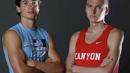 Portrait of Johnson junior Jack Scarborough, 2017 Express-News All-Area Boys Field Athlete of the Year (left) and New Braunfels Canyon senior Sam Worley, Track Athlete of the Year on May 21, 2017.