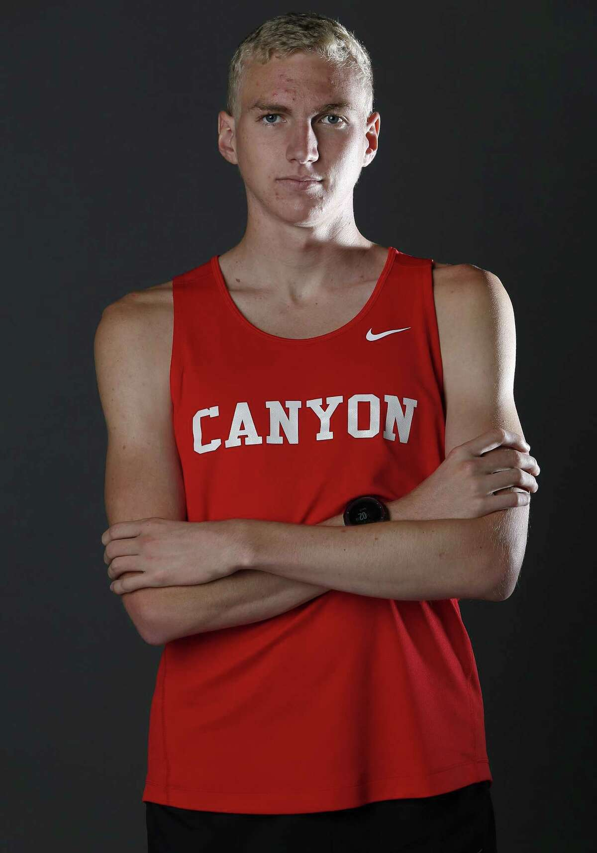 New Braunfels Canyon senior track/cross country star Sam Worley poses on May 21, 2017.