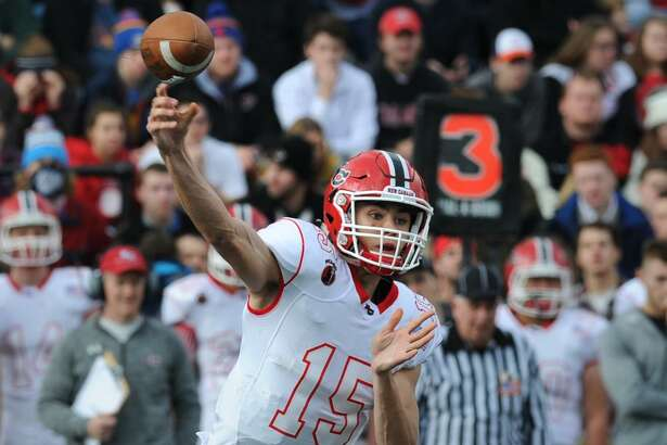 Michael Collins( 15) FCIAC Championship football game bewtween New Canaan High School and Darien High School at Stamford High School's Boyle Stadium, Stamford, Conn., Thursday, Nov. 26, 2015. Darien took the championship Turkey Bowl title over New Canaan by a score of 28-21.