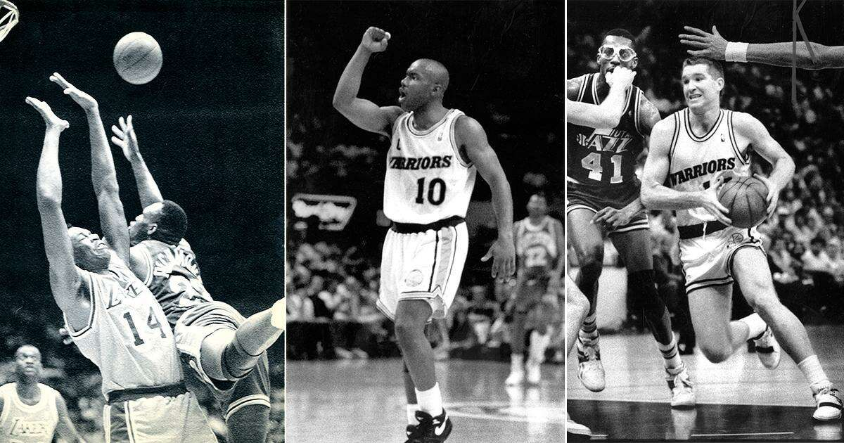 Mitch Richmond, left, Tim Hardaway and Chris Mullin were known as Run TMC when they drove the Warriors' fast-paced offense.