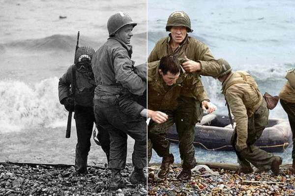 Medics from the US 5th and 6th Engineer Special Brigade help wounded soldiers on Omaha Beach. Photo seen in original black and white at left, and brought to life in color by photo editor Marina Amaral at right.