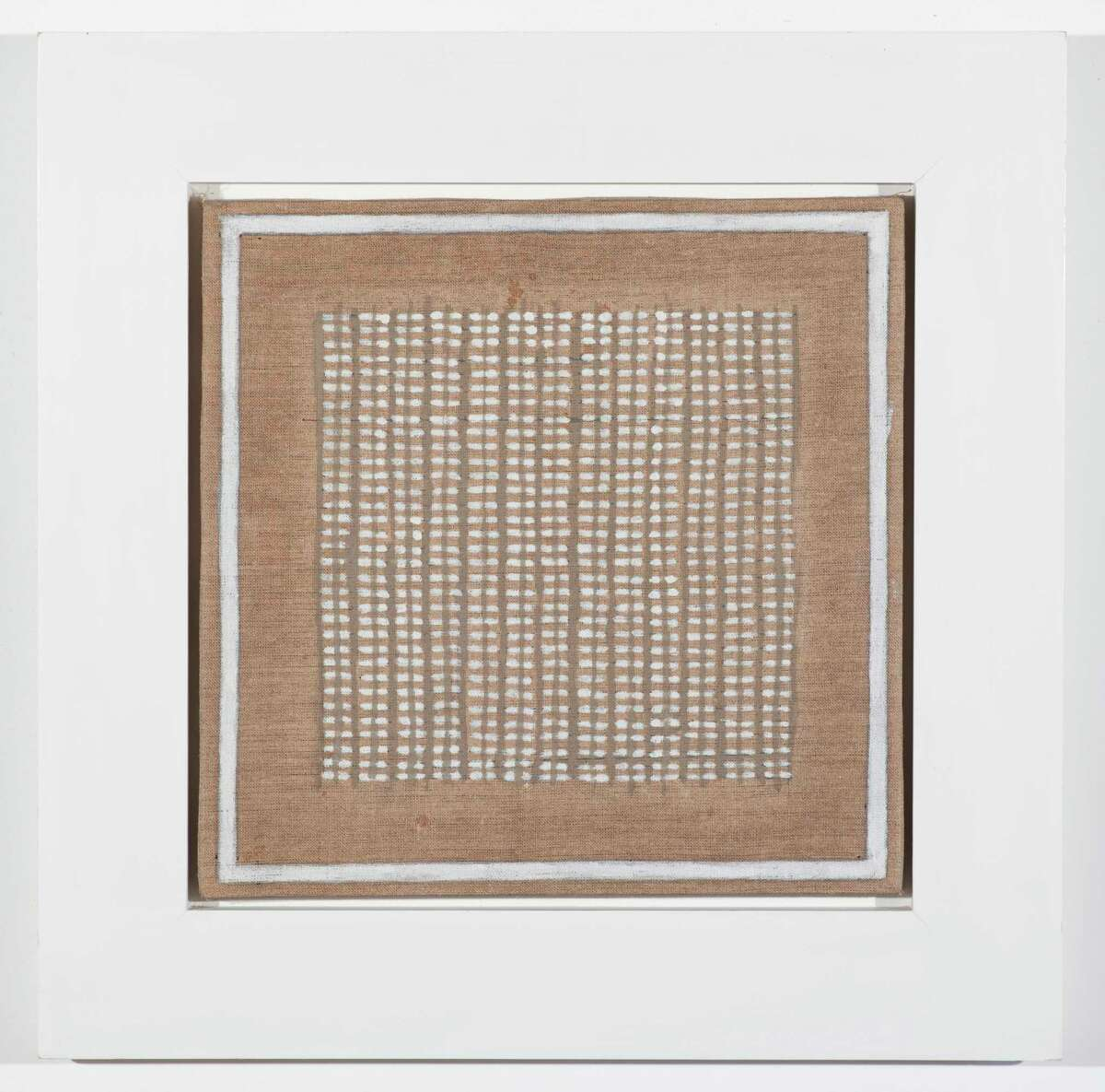 [PG2015_1_102] Agnes Martin, Island No. 1, 1960. Oil on linen, 12 é?- 12 in. (30.5 é?- 30.5 cm). Private Collection, Houston. Agnes Martin / Artists Rights Society (ARS), New York