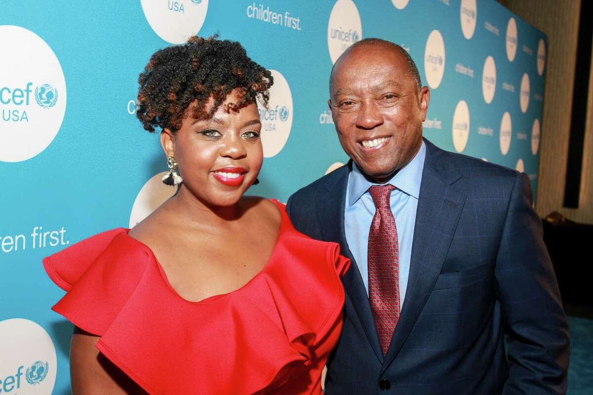 Mayor Sylvester Turner and daughter Ashley Turner at the UNICEF Audrey Hepburn Society Ball. (For the Chronicle/Gary Fountain, May 24, 2017)
