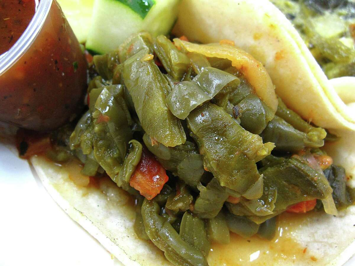 Nopales taco on commercial corn tortillas from La Michoacana Meat Market.