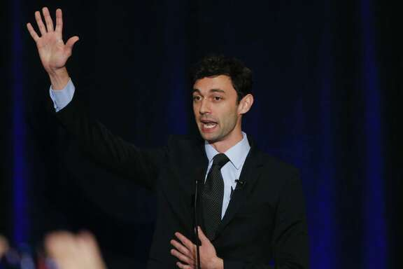 Democratic candidate for Georgia's Sixth Congressional Seat Jon Ossoff speaks to supporters during an election-night watch party April 18 in Dunwoody, Ga. Democrats are watching this race closely to determine how the party will do in midterm congressional elections next year.