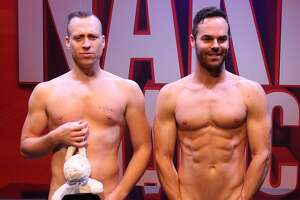 Australians Christopher Wayn & Mike Tyler perform the World's Cheakiest Magic Show, during The Naked Magicians - Photocall at Trafalgar Studios, on September 01, 2016 in London, England.