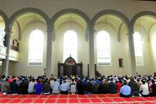 The new Bridgeport Islamic Community Center holds Friday prayers for the first time today at the former United Congregational Church in Bridgeport, Conn., on Friday May 26, 2017.