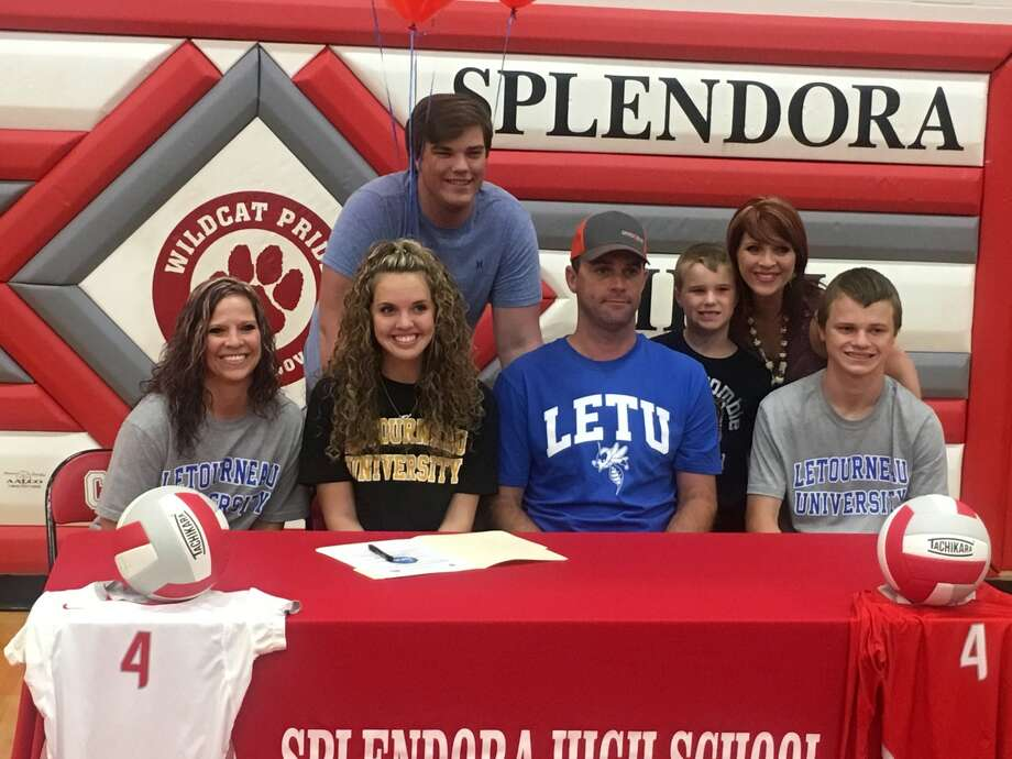 Splendora volleyball player Hailey Matthews, shown here with her family, signed with LeTourneau University on Monday, May 22. Photo: Photo Provided
