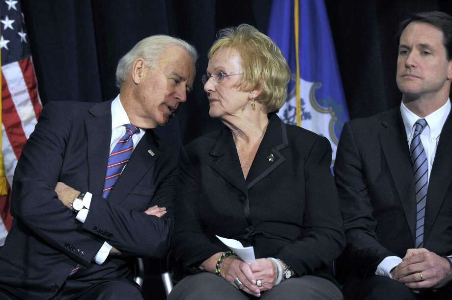 Vice President Joe Biden speaks with Llodra as they sit together on stage at a conference on gun violence at Western Connecticut State University in Danbury, Feb. 21, 2013. Congressman Jim Himes is right. Photo: Carol Kaliff / File Photo / The News-Times