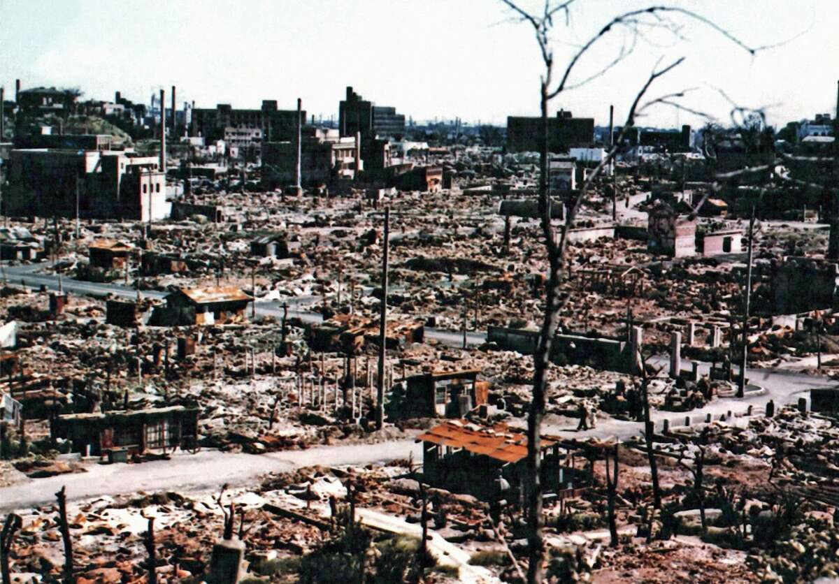 Color photograph of the ruins of central Hiroshima in autumn of 1945. September 1945. The atomic bomb Â?