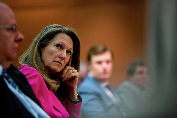 Kimberly Corley, executive director of the Texas Railroad Commission, shown at a May meeting, says she was given the choice to resign or be fired by commission Chairwoman Christi Craddick.