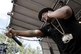 Rapper E-40 pumps up the crowd during BottleRock at the Napa Valley Expo on Friday, May 26, 2017, in Napa, Calif.