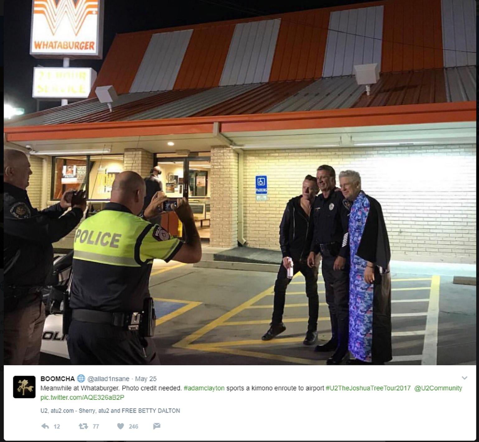 rockers u2 made a pit stop at a whataburger after their. Black Bedroom Furniture Sets. Home Design Ideas