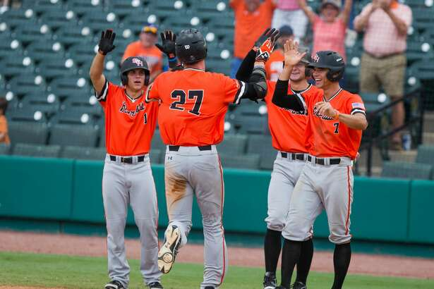 Sam Houston St. teammates celebrate as Sam Houston St. pitcher Blake Chisolm (27) inside the park homerun in the eighth inning of a baseball game during the Southland Conference Tournament between University of New Orleans vs Sam Houston State University at Constellation Field, Friday, May 26, 2017, in Sugarland. Sam Houston St. defeated New Orleans 7-1. (Juan DeLeon/for the Houston Chronicle )