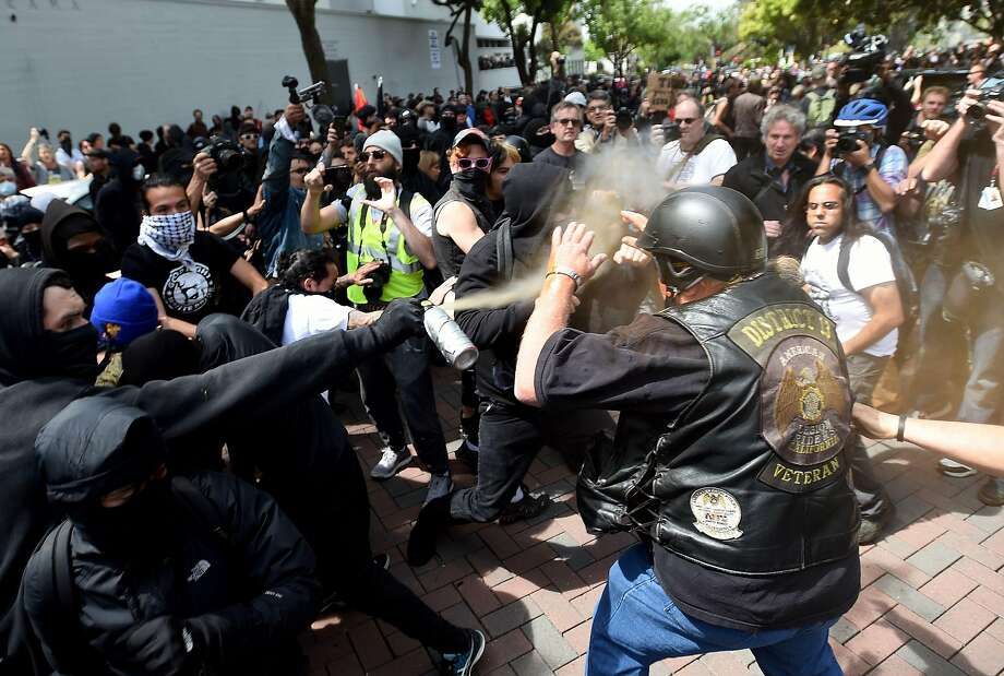 A former instructor at Diablo Valley College has been arrested over an attack at a clash between supporters and opponents of President Trump in Berkeley this spring. Photo: JOSH EDELSON, AFP/Getty Images