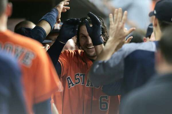 Houston Astros center fielder Jake Marisnick (6) celebrates his solo home run in the bottom of the third inning, giving the Astros a 1-0 lead over the Orioles. Houston Astros and Baltimore Orioles in the first of a three-game series at Minute Maid Park on Friday, May 26, 2017, in Houston. ( Elizabeth Conley / Houston Chronicle )