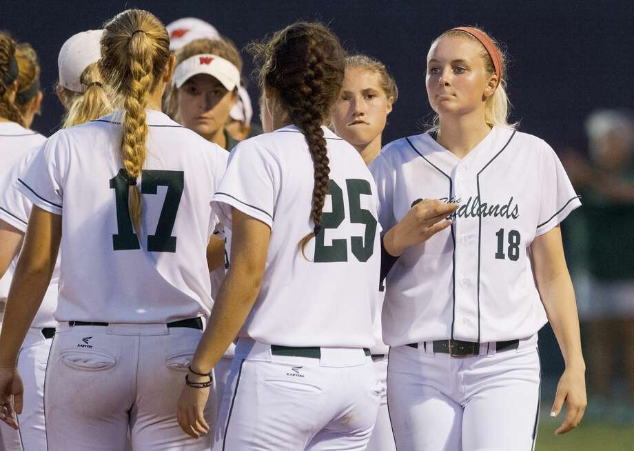 The Woodlands senior and starting pitcher Emily Langkamp reacts after the team's 3-0 loss to Bowie in Game 2 of a Region II-6A final high school softball series at the Mumford Athletic Complex, Friday, May 26, 2017, in Mumford. Photo: Jason Fochtman/Houston Chronicle