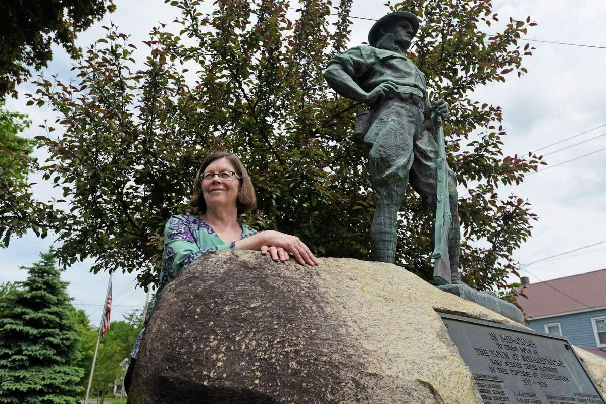 Chris Kelly, the Schaghticoke town historian, stands next to the monument for veterans of World War I on Wednesday, May 24, 2017, in Schaghticoke, N.Y. (Paul Buckowski / Times Union)