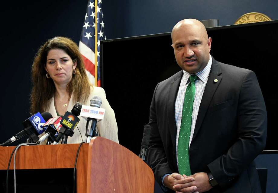 Albany District Attorney David Soares, right, and Assistant DA Mary Tanner-Richter, left, hold a press conference where he announced a policy change to cease plea deals offered for DWI offenders who circumvented their ignition interlock devices on Friday morning, May 26, 2017, at the Albany County Judicial Center in Albany, N.Y. (Will Waldron/Times Union) Photo: Will Waldron / 40040616A